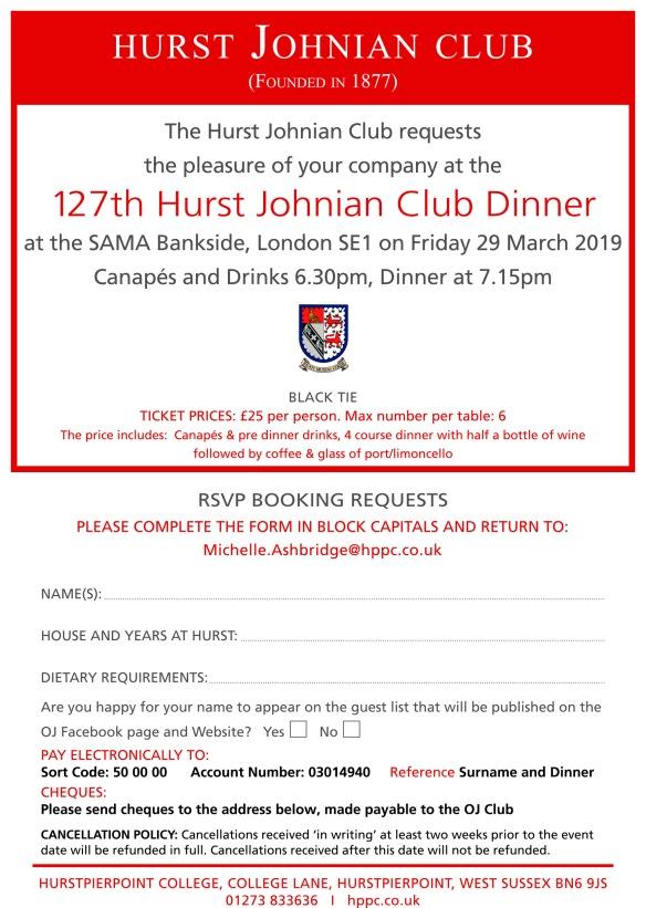 OJ Dinner 29 March 2019 Invite